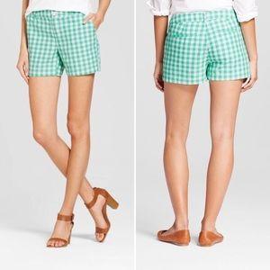 """🔥2 x $25🔥Merona green checked Chino Shorts 5"""""""